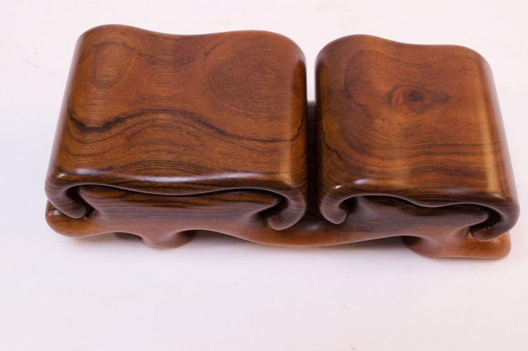 Vintage French Walnut 'Mushroom' Jewelry Puzzle Box by Fred Buss In Good Condition For Sale In Brooklyn, NY