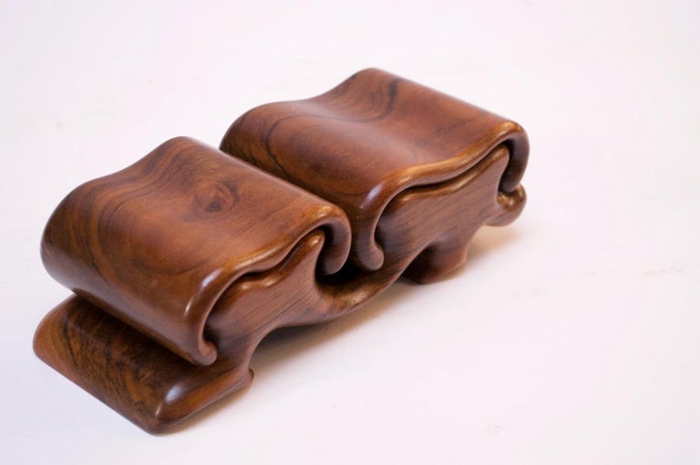 Late 20th Century Vintage French Walnut 'Mushroom' Jewelry Puzzle Box by Fred Buss For Sale