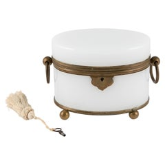 Vintage French White-Glass Jewelry Casket with Brass Trim and Key