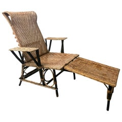 Vintage French Wicker and Bamboo Chaise Longue, 20th Century