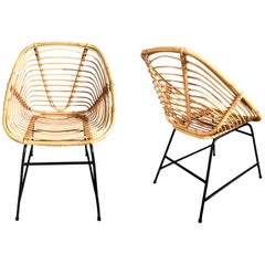 Vintage French Wicker and Rattan Chairs