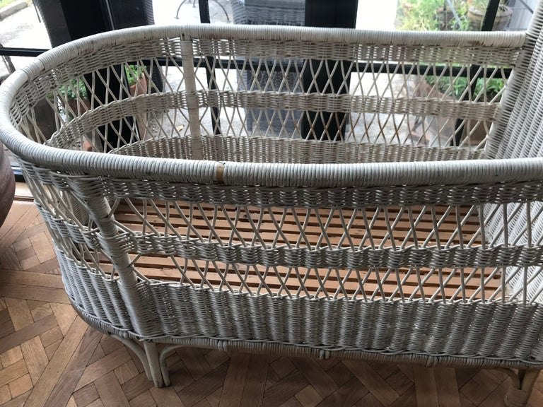Vintage French Wicker Baby Bed/ Crib For Sale 7