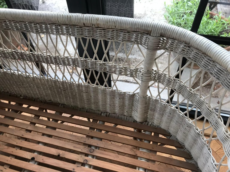 Hand-Woven Vintage French Wicker Baby Bed/ Crib For Sale