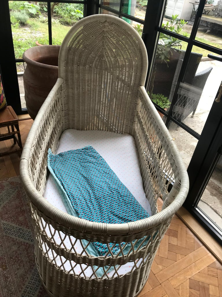 20th Century Vintage French Wicker Baby Bed/ Crib For Sale