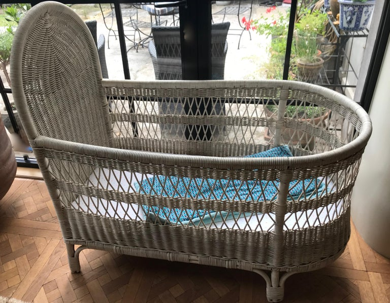 Vintage French Wicker Baby Bed/ Crib For Sale 1