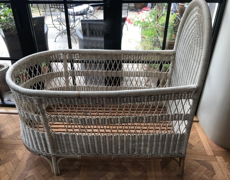 Vintage French Wicker Baby Bed/ Crib For Sale 2