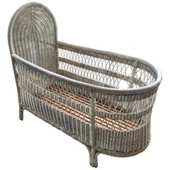 Vintage French Wicker Baby Bed/ Crib