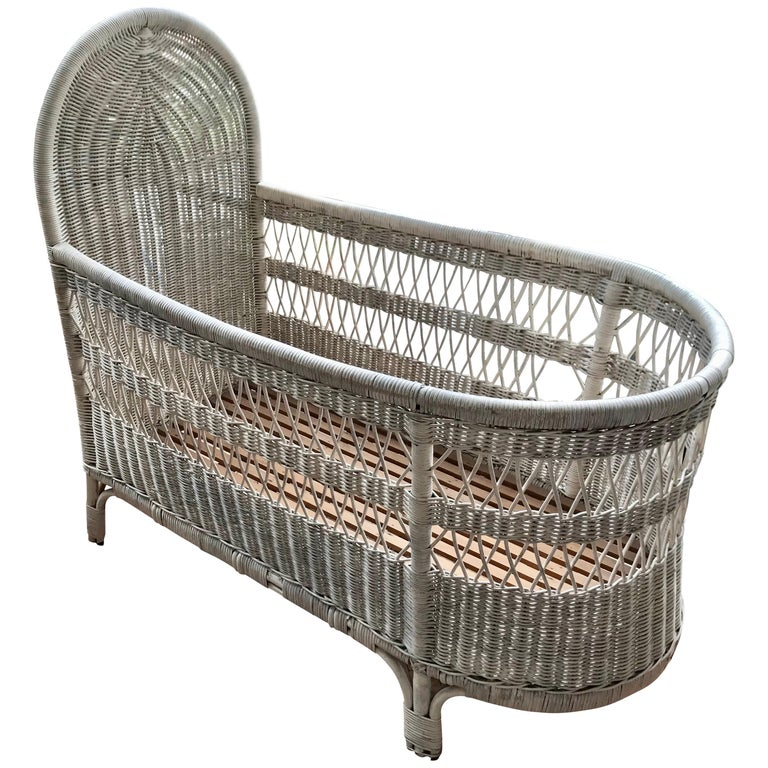 Vintage French Wicker Baby Bed Crib For Sale At 1stdibs