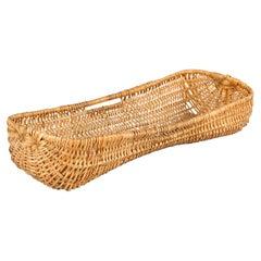 Vintage French Wicker Basket from Auvergne Region
