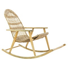 Vintage French Wicker Rocking Chair