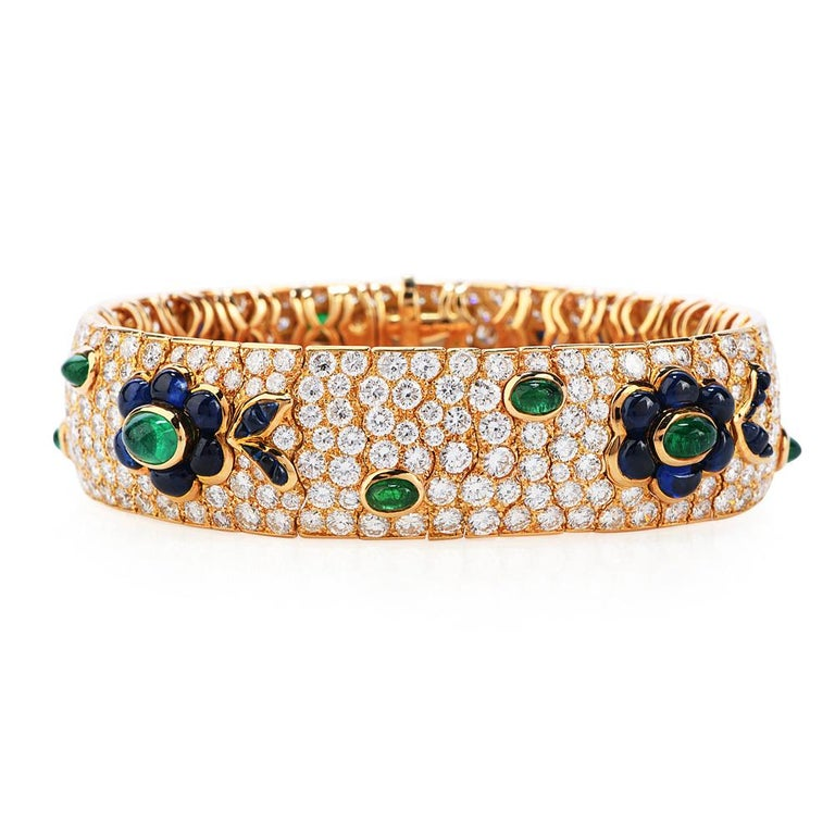 Round Cut Vintage French Wide Diamond Sapphire Emerald Gold Bracelet For Sale