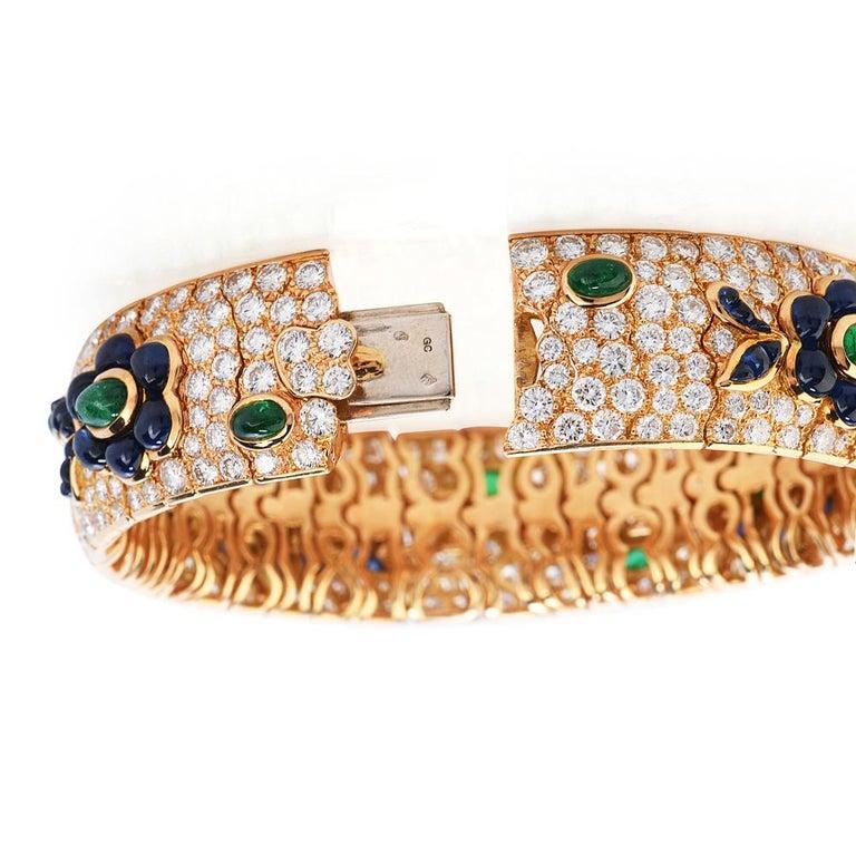 Women's Vintage French Wide Diamond Sapphire Emerald Gold Bracelet For Sale