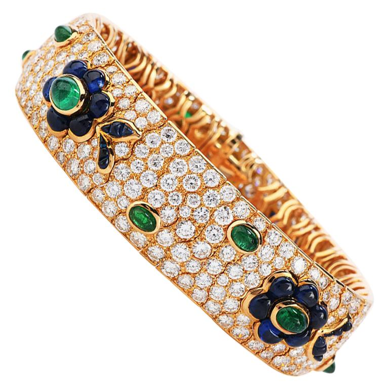 Vintage French Wide Diamond Sapphire Emerald Gold Bracelet For Sale