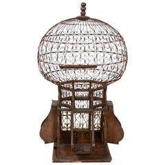 Vintage French Wood and Wire Birdcage, 20th Century