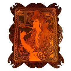 Vintage French Wood Burning Wall Art Alphonse Mucha