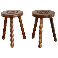 Vintage French Wood Stools