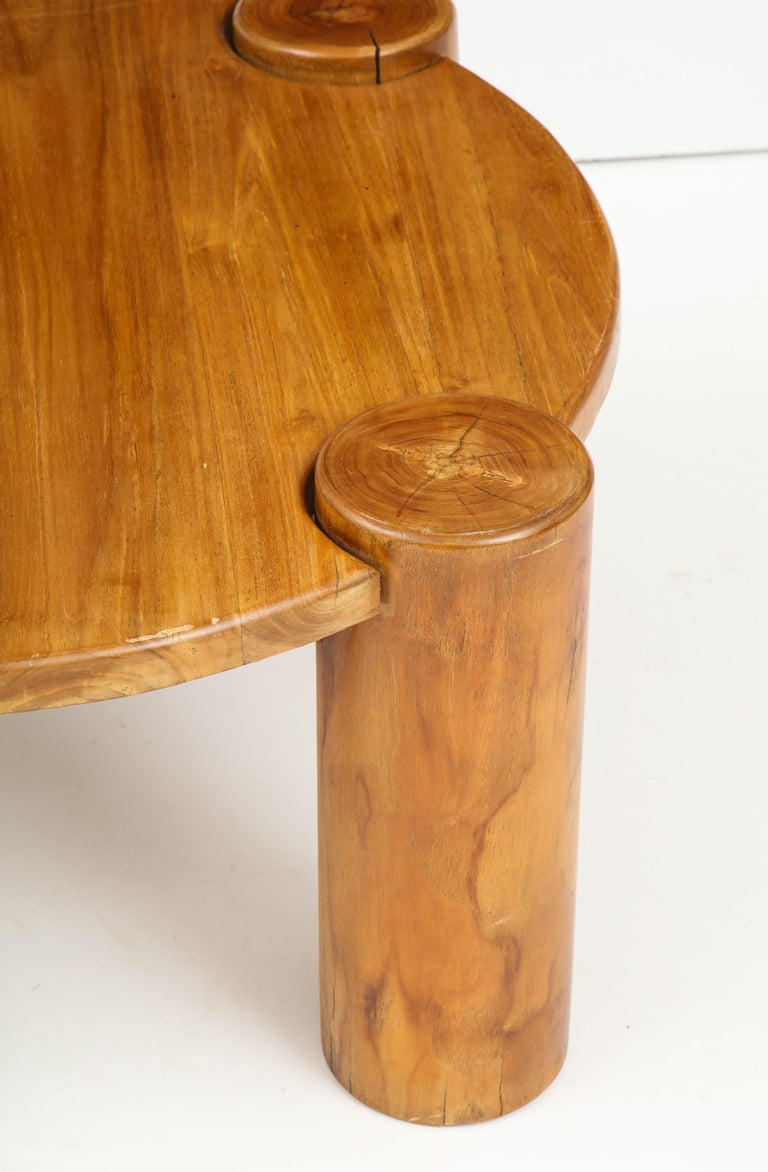 Vintage French Wood Table with Heavy Cylindrical Legs For Sale 5