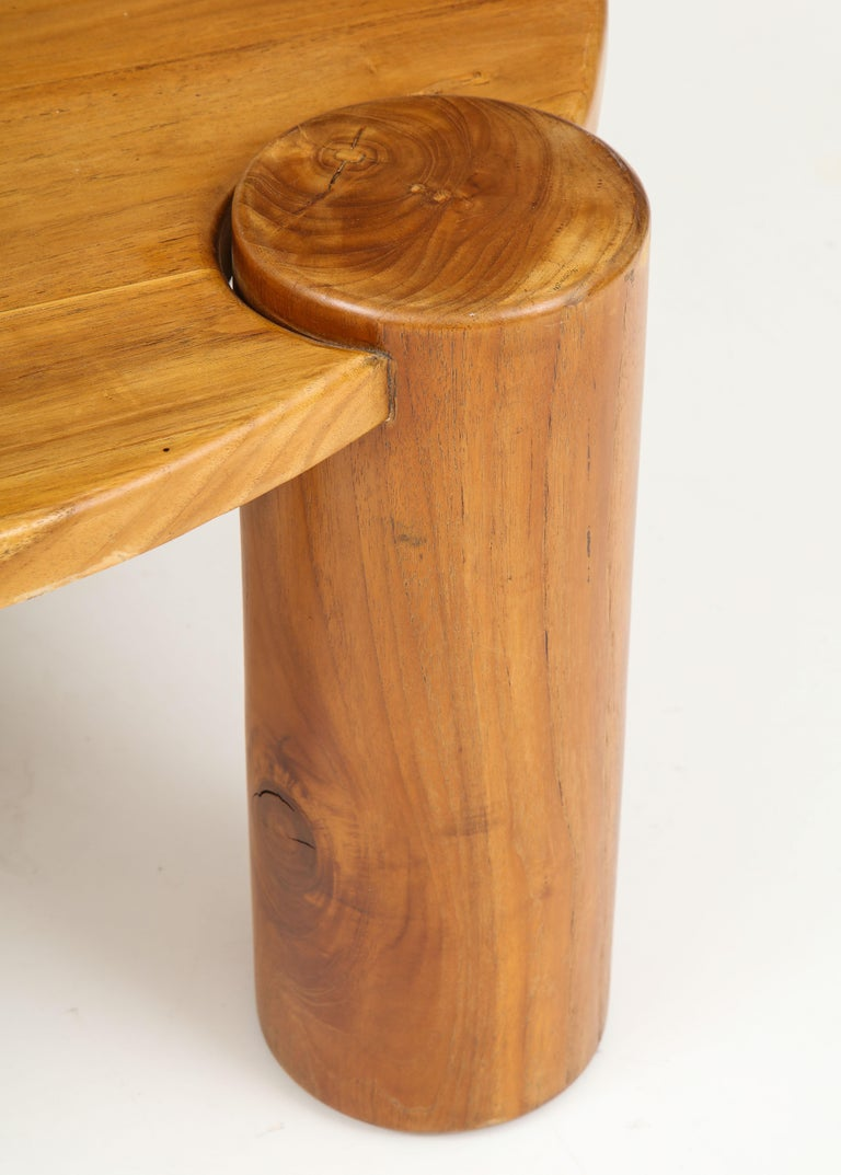 Vintage French Wood Table with Heavy Cylindrical Legs For Sale 7