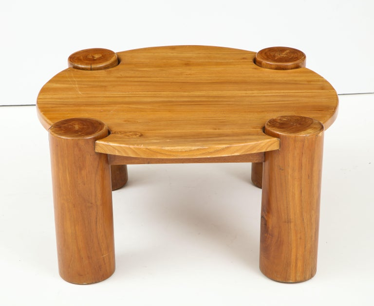 Mid-Century Modern Vintage French Wood Table with Heavy Cylindrical Legs For Sale