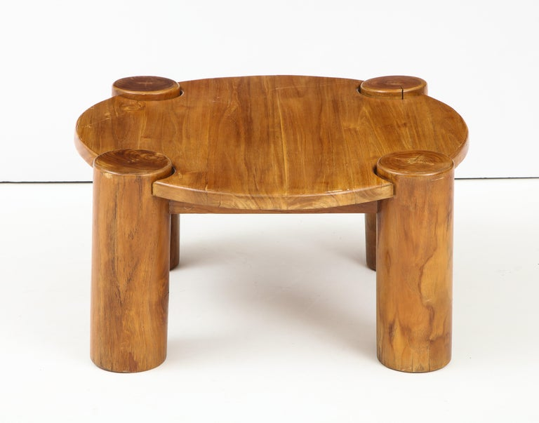 Vintage French Wood Table with Heavy Cylindrical Legs In Good Condition For Sale In New York City, NY