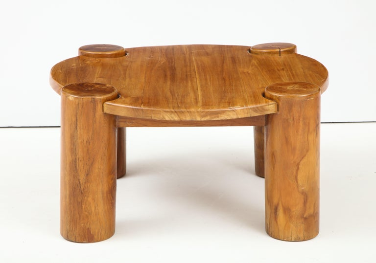20th Century Vintage French Wood Table with Heavy Cylindrical Legs For Sale