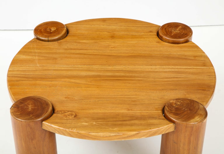 Vintage French Wood Table with Heavy Cylindrical Legs For Sale 2
