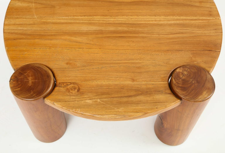Vintage French Wood Table with Heavy Cylindrical Legs For Sale 4