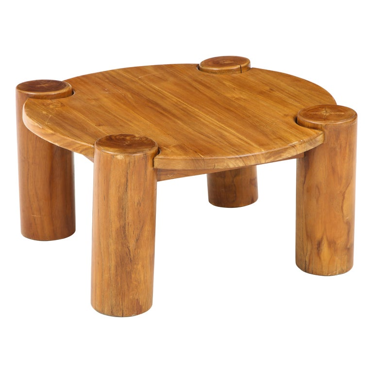 Vintage French Wood Table with Heavy Cylindrical Legs For Sale