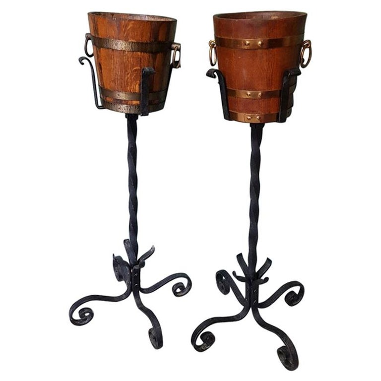 Vintage French Wooden and Wrought Iron Champagne or Wine Coolers For Sale