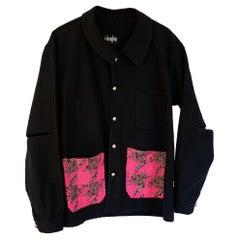 Vintage French Work Jacket Embellished Neon Pink Gold Lurex Tweed J Dauphin