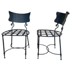 "Vintage French ""Woven"" Iron Garden Chairs Pair Available"
