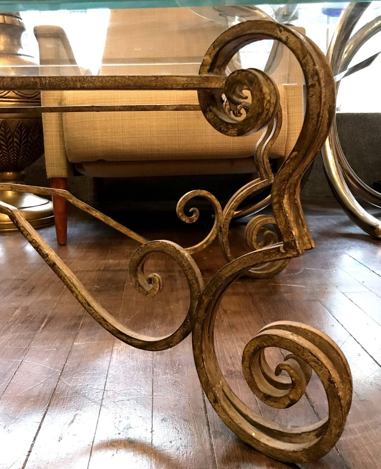 Vintage French Wrought Iron Coffee Table For Sale at 1stDibs