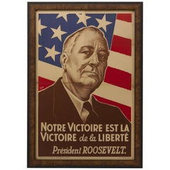 Vintage French WWII Poster with President Roosevelt, circa 1942