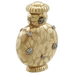 Vintage French Yellow Gold and Diamond Scent Bottle
