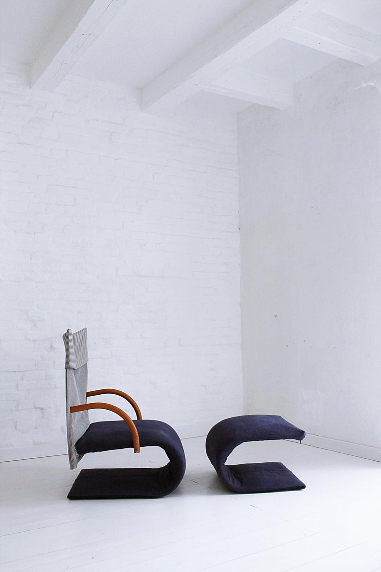 Modern Vintage French Zen Chair with Ottoman by Claude Brisson for Ligne Roset, 1980s For Sale