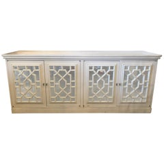 Vintage Fretwork Fret Chinese Chippendale Mirrored Cabinet Credenza Sideboard