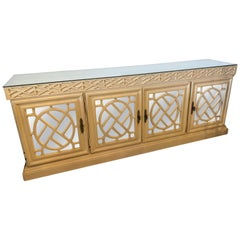 Vintage Fretwork Fret Work Chinese Chippendale Mirrored Credenza Buffet Cabinet