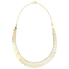Vintage Fringe Collar Necklace 14 Karat Yellow Gold Choker Length Jewelry