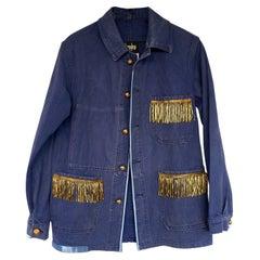 Vintage Fringe Jacket  Light Blue Distressed French Blue One of a kind J Dauphin