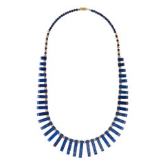 Vintage Fringe Necklace Lapis Lazuli 14 Karat Yellow Gold Estate Fine Jewelry