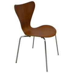 Vintage Fritz Hansen Series 7 Arne Jacobsen Bent Plywood and Chrome Chair