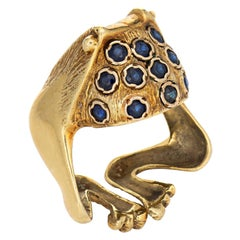 Vintage Frog Ring 18k Yellow Gold Sapphire Estate Fine Jewelry Toad