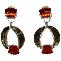 Vintage Frosted Swarovski Cristal Clip Earrings