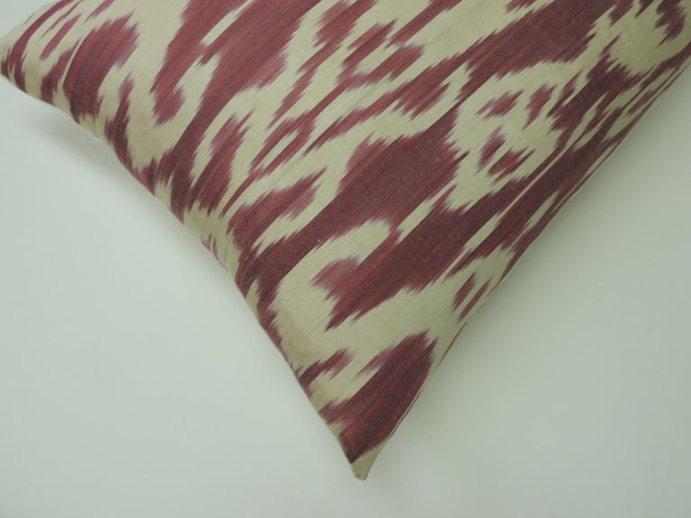 Tribal Vintage Fuchsia and Natural Silk Ikat Bolster Decorative Pillow For Sale
