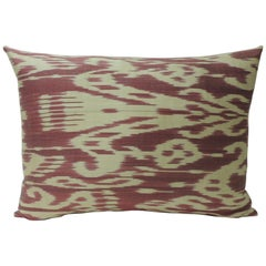 Vintage Fuchsia and Natural Silk Ikat Bolster Decorative Pillow