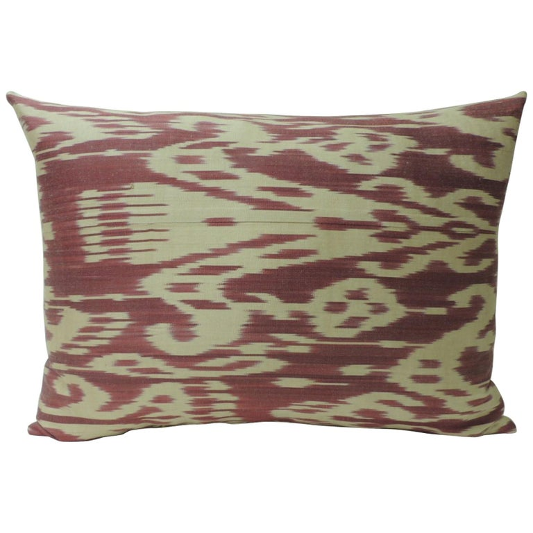 Vintage Fuchsia and Natural Silk Ikat Bolster Decorative Pillow For Sale