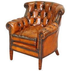 Vintage Fully Restored Cigar Brown Leather Chesterfield Club Library Armchair