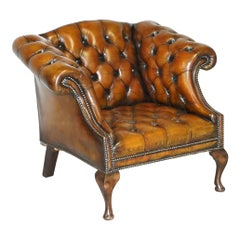 Vintage Fully Restored Cigar Brown Leather Chesterfield Hump Back Club Armchair