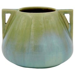 Vintage Fulper Pottery Double Handled Vase with a Green Flambé Glaze
