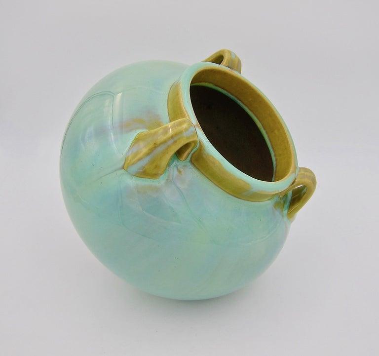 American Vintage Fulper Pottery Three Handled Vase with a Flambé Glaze For Sale